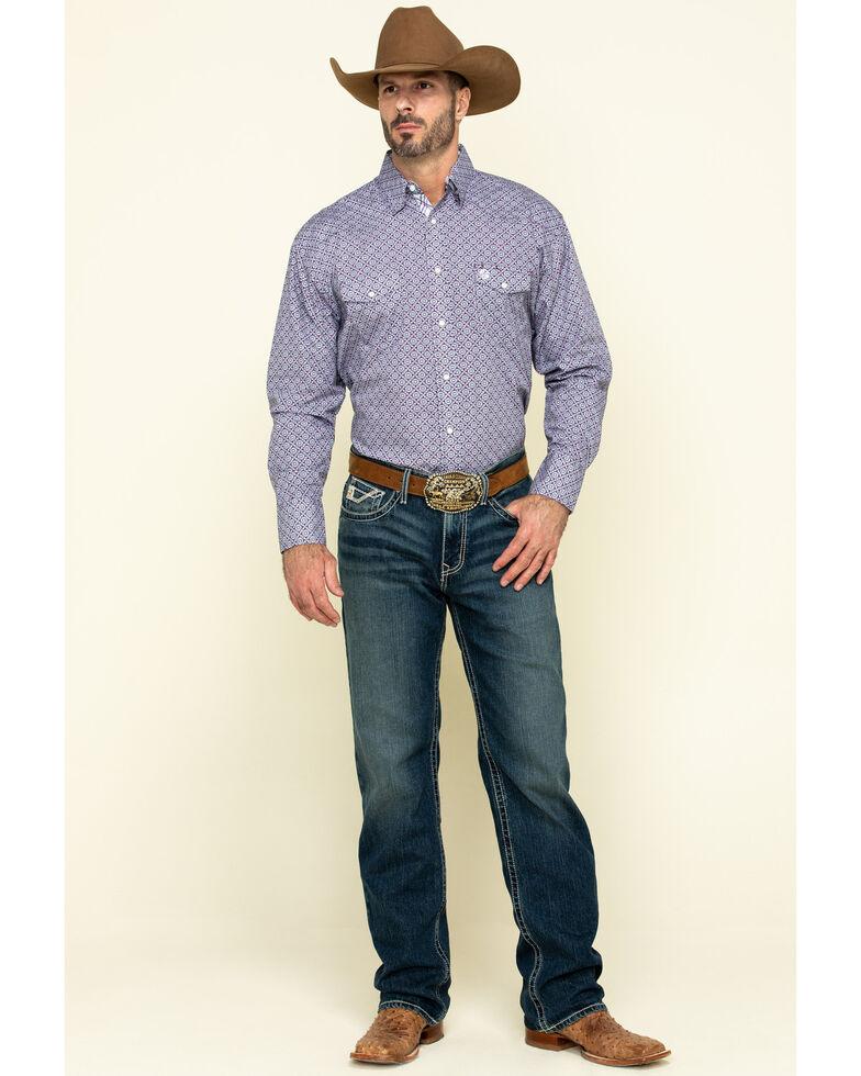 George Strait By Wrangler Men's Purple Medallion Geo Print Long Sleeve Western Shirt  , Purple, hi-res