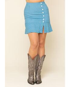 Idyllwind Women's On The Dot Side Slit Skirt, Blue, hi-res