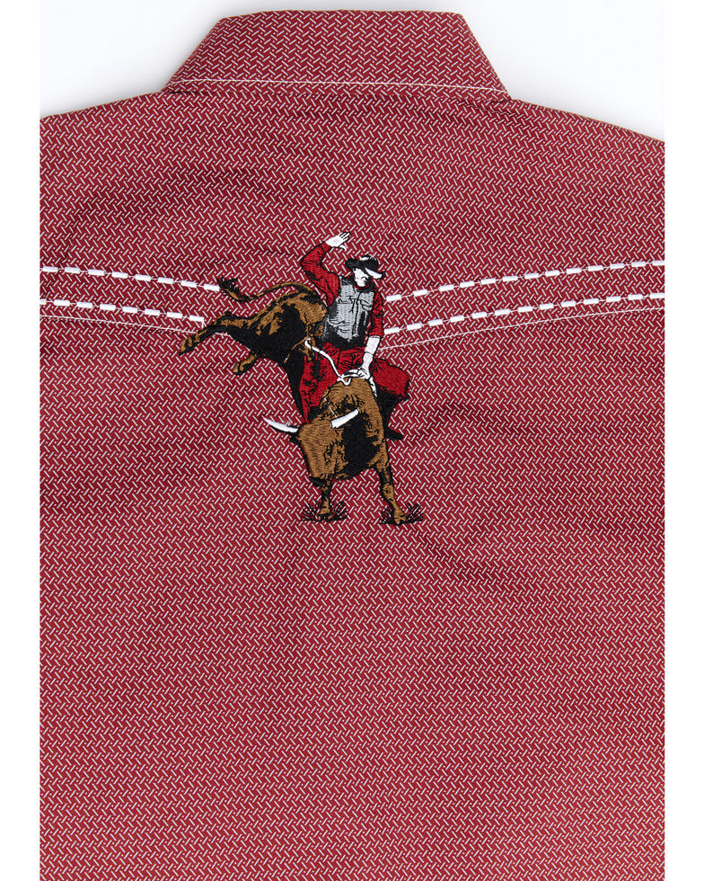 Cowboy Hardware Boys' Red Geo Print Bucking Horse Long Sleeve Western Shirt , Red, hi-res