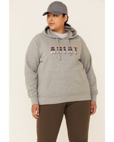 Ariat Women's Heather Grey R.E.A.L Serape Logo Hooded Sweatshirt - Plus , Heather Grey, hi-res