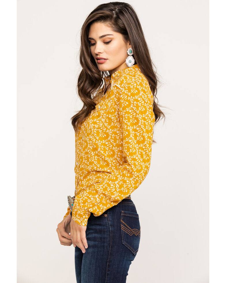 Wrangler Women's Mustard Ditsy Floral Long Sleeve Western Shirt , Dark Yellow, hi-res