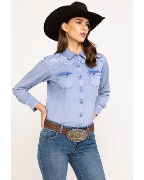 Ariat Women's R.E.A.L. Brilliant Snap Long Sleeve Western Shirt , Indigo, hi-res