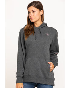 Ariat Women's Charcoal Logo Hoodie , Charcoal, hi-res