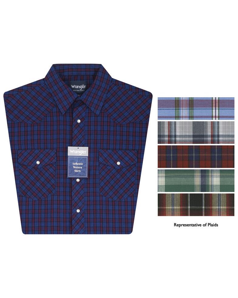 Wrangler Men's Short Sleeve Assorted Western Shirts, Plaid, hi-res