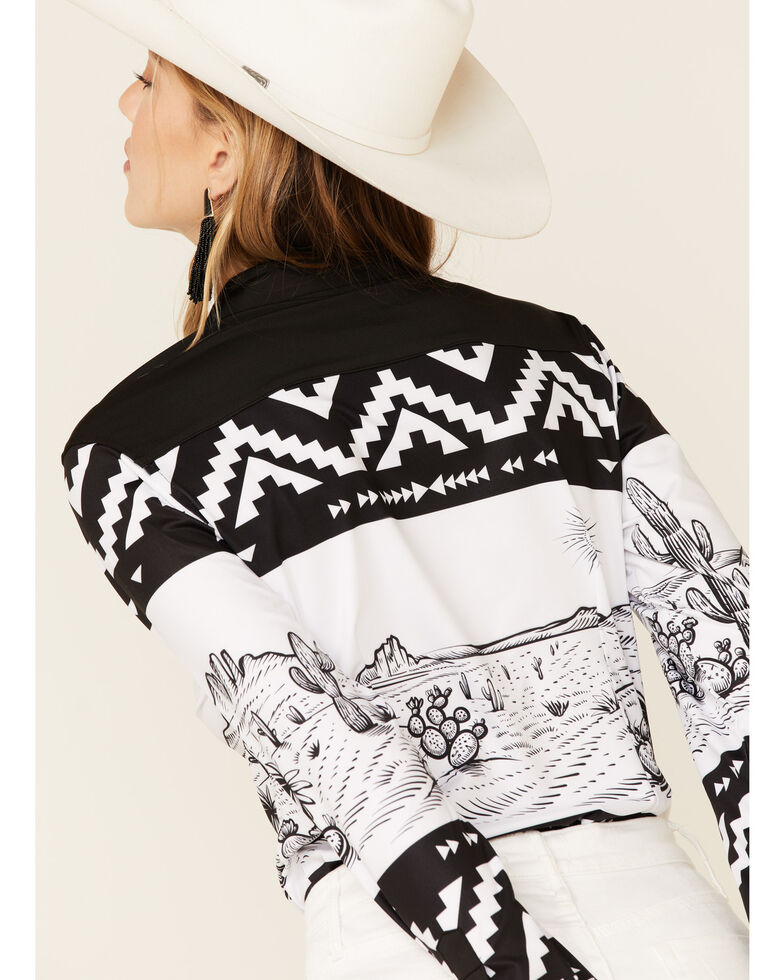 Ranch Dress'n Women's Desert Aztec Border Print Long Sleeve Western Shirt , Black, hi-res