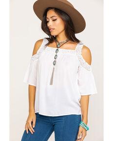 Ariat Women's White Cold Shoulder Crochet Dawn Top, White, hi-res
