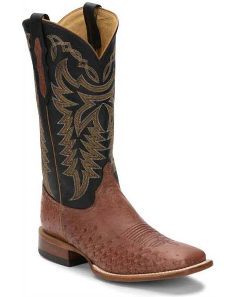 Justin Men's Pascoe Rum Smooth Ostrich Western Boots - Wide Square Toe, Brown, hi-res
