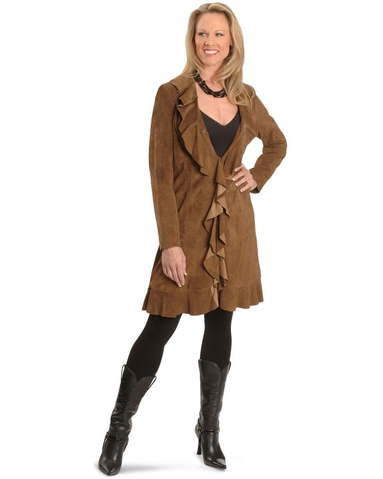 Scully Women's Ruffle Suede Leather Long Jacket, Brown, hi-res
