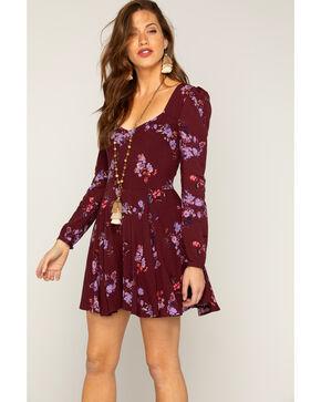 Shyanne Women's Floral Long Sleeve Dress, Purple, hi-res