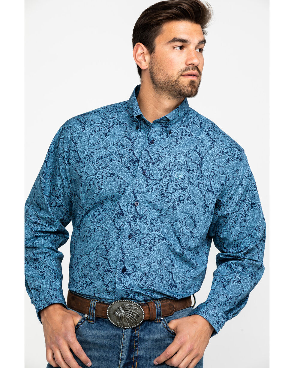 Cinch Men's Blue Geo Print Weave Long Sleeve Western Shirt , Blue, hi-res