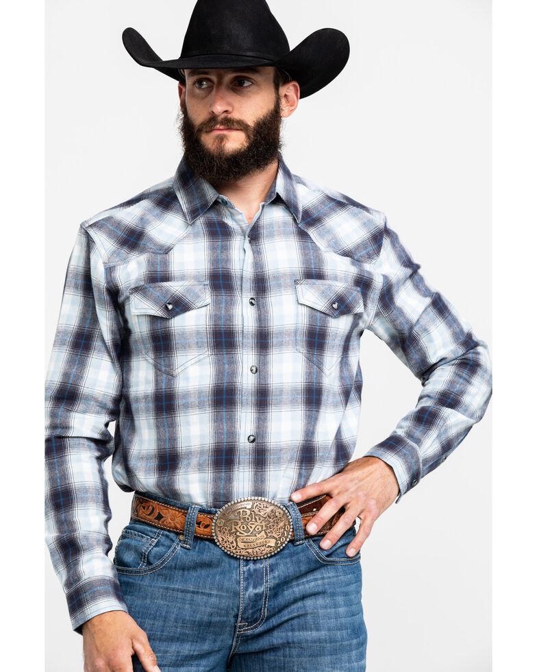 Cody James Men's Moonbeam Ombre Plaid Long Sleeve Western Flannel Shirt , Light Blue, hi-res