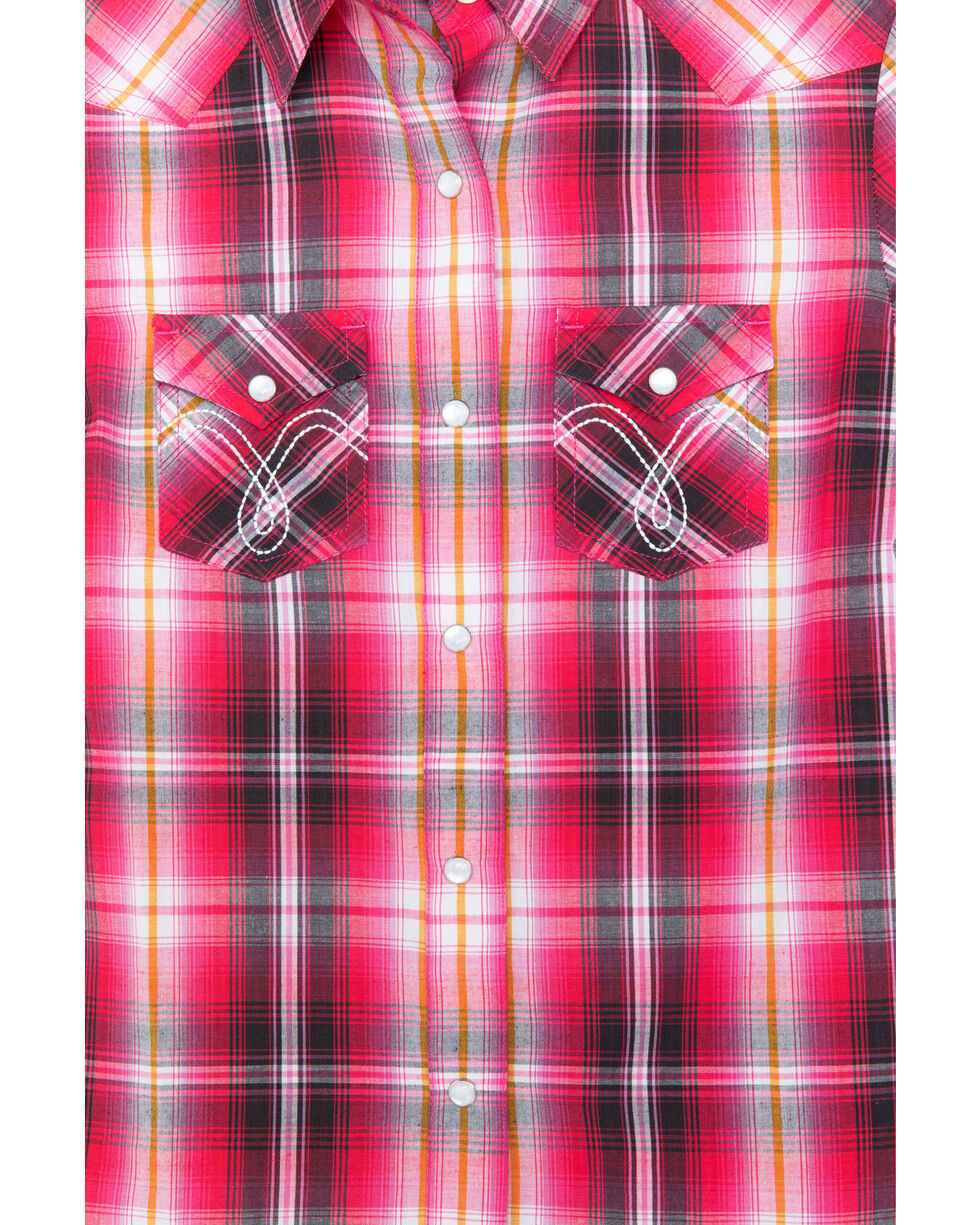 Panhandle Girls' Plaid Ombre Snap Classic Pocket Long Sleeve Western Shirt , Pink, hi-res