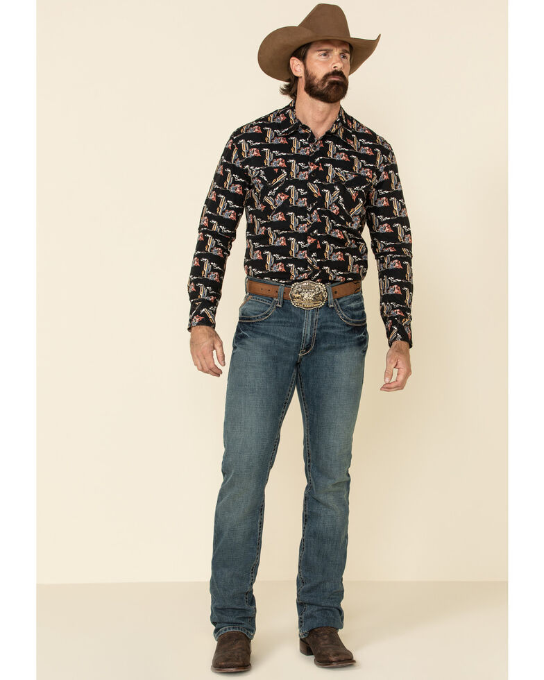 Dale Brisby Men's Black Cactus Print Long Sleeve Western Shirt , Black, hi-res