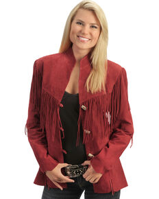 Scully Fringe Suede Leather Jacket, Red, hi-res