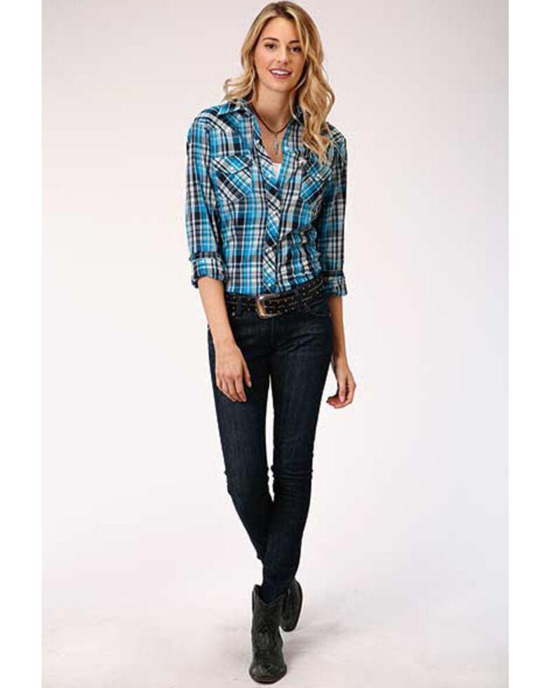 Karman Women's Blue Plaid Long Sleeve Snap Western Shirt  , Blue, hi-res