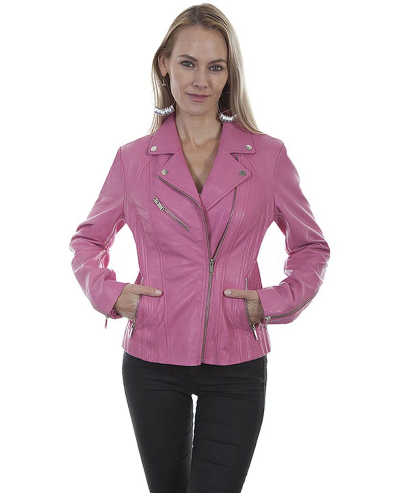 Leatherwear by Scully Women's Butterscotch Suede Motorcycle Jacket, Pink, hi-res