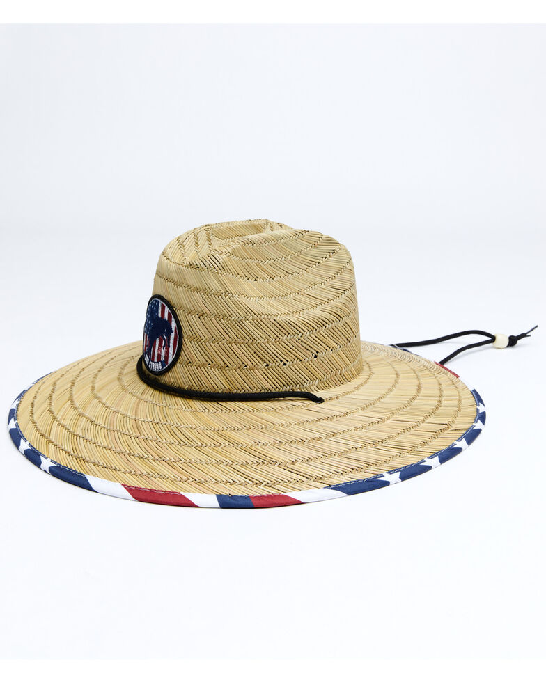 Cody James Men's USA Strong Lifeguard Straw Sun Hat , Red/white/blue, hi-res