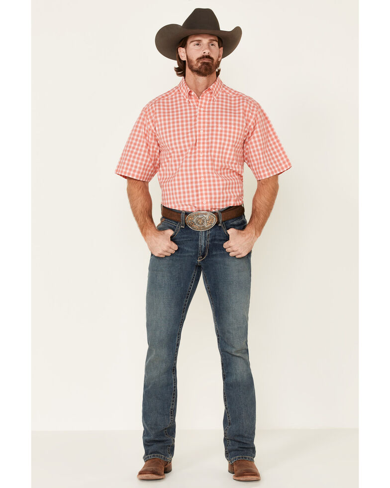Ariat Men's Coral Felix Small Plaid Short Sleeve Western Shirt , Coral, hi-res