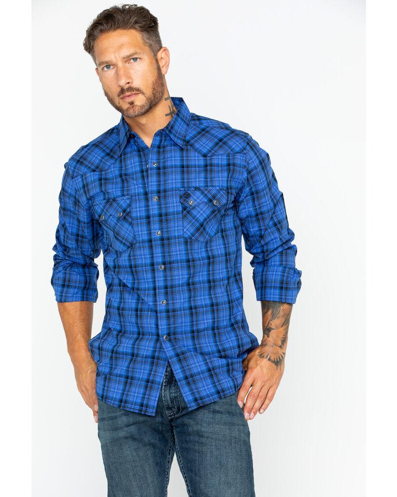 db39261f Zoomed Image Wrangler Men's Retro Medium Plaid Shirt , Blue, hi-res