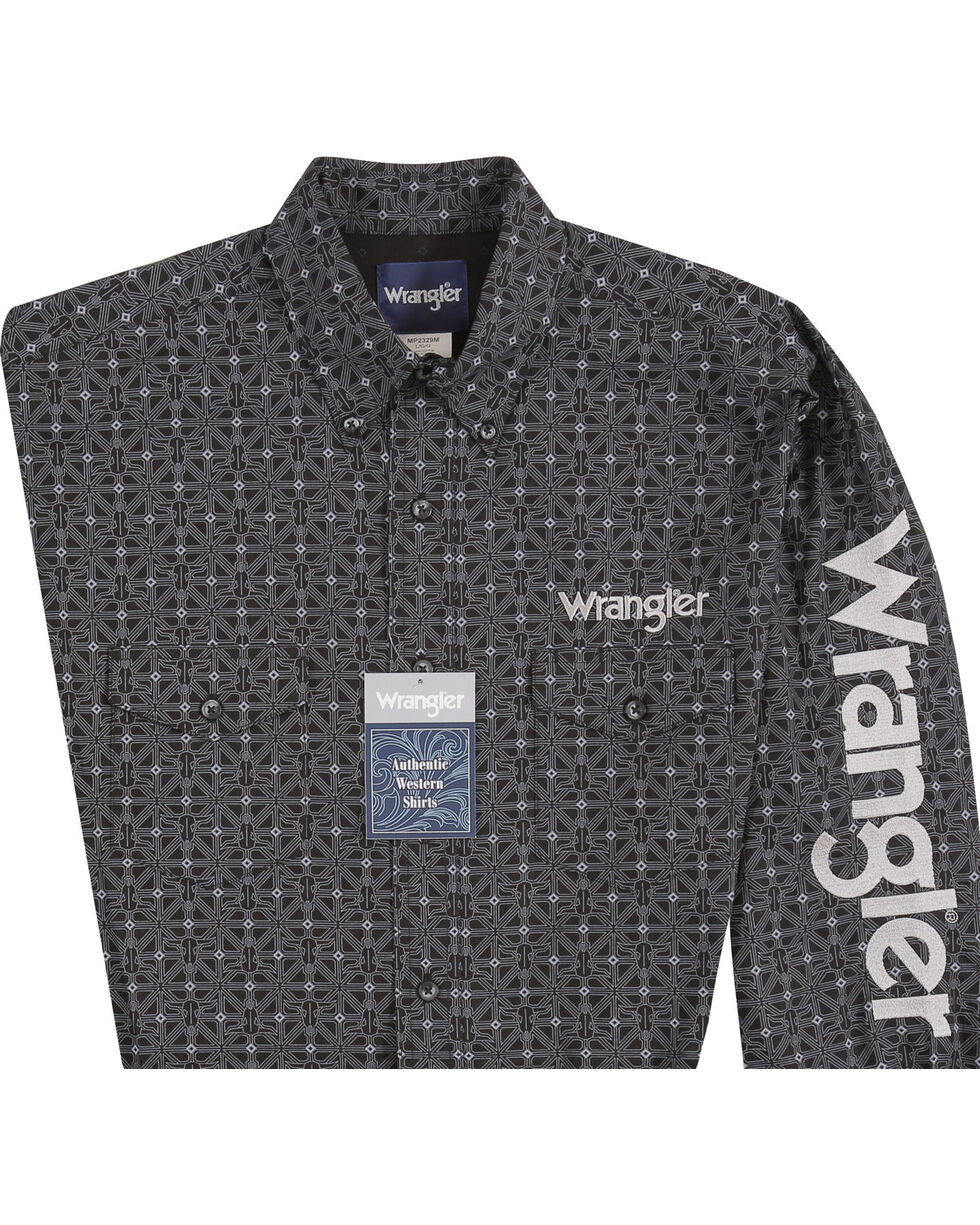 Wrangler Men's Black Cowskull Western Logo Shirt - Big & Tall, Black, hi-res