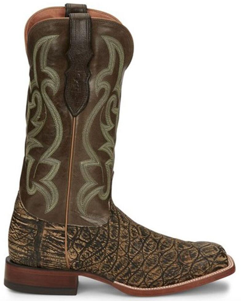 Justin Men's Boomer Saddle Exotic Croc Western Boots - Square Toe, Brown, hi-res