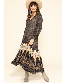 Free People Women's Feeling Groovy Border Maxi Dress , Navy, hi-res