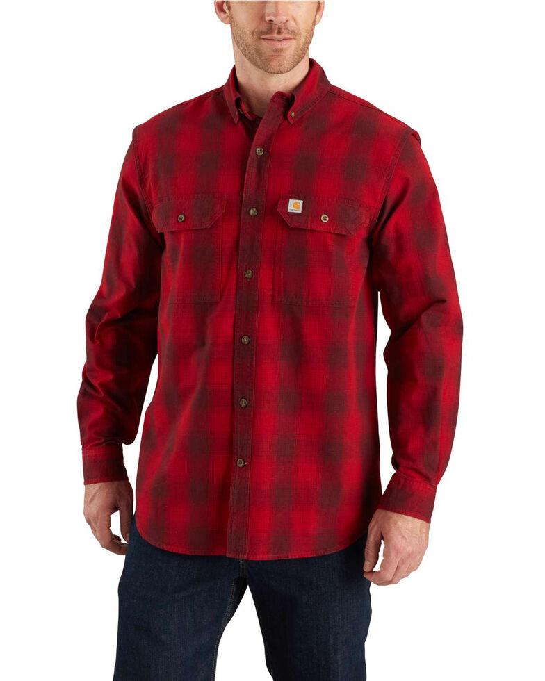 Carhartt Men's Red Fort Plaid Button Long Sleeve Work Shirt - Tall , Dark Red, hi-res