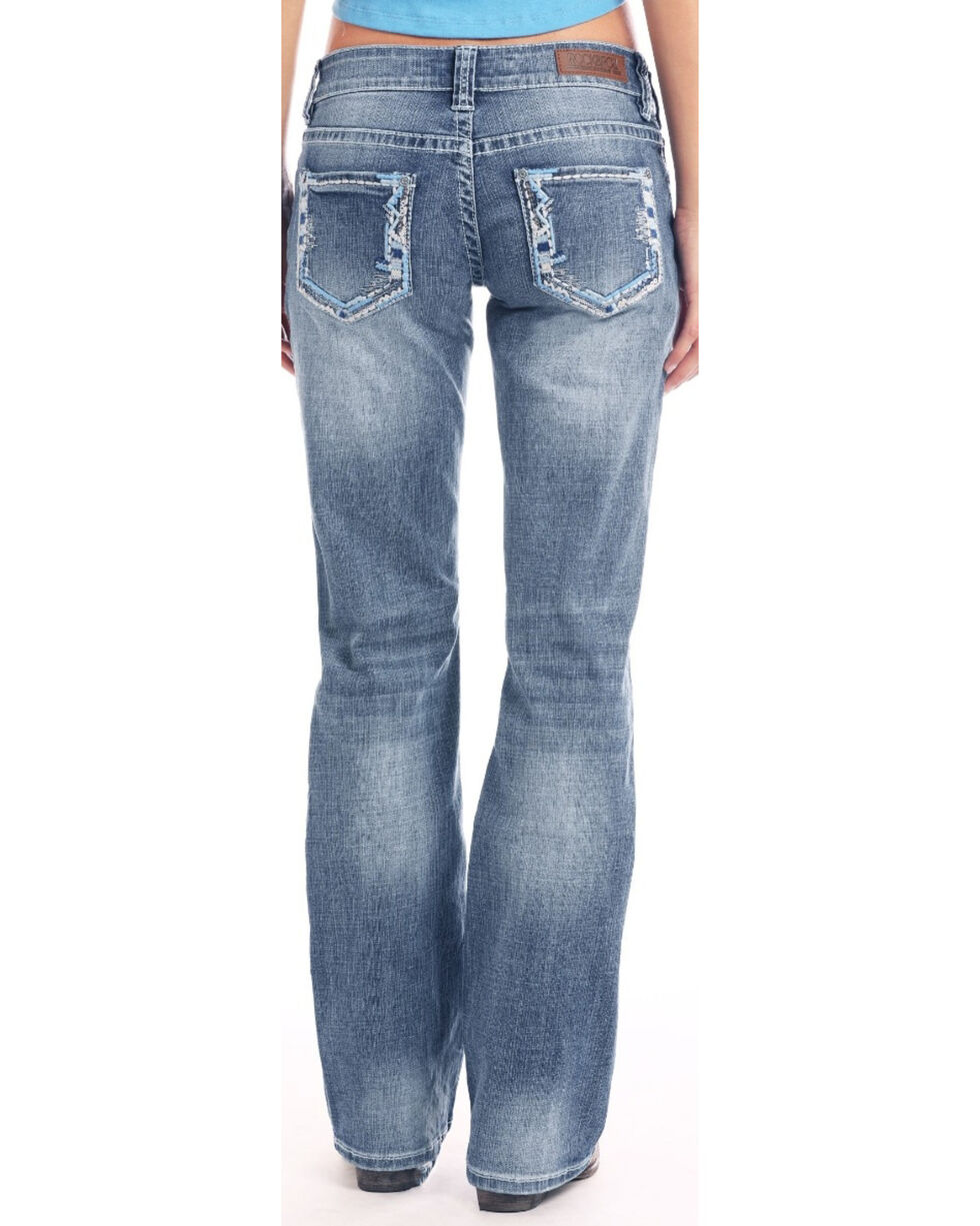 Rock & Roll Cowgirl Women's Light Wash Riding Boot Cut Jeans, Blue, hi-res