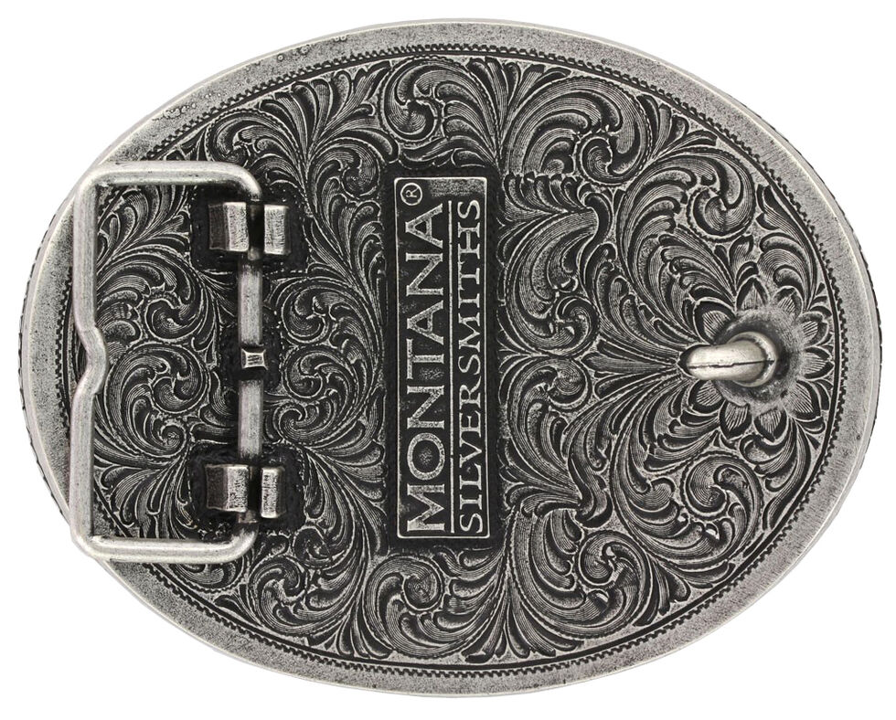 Montana Silversmiths Barbed Wire Longhorn Classic Impressions Attitude Belt Buckle, Silver, hi-res