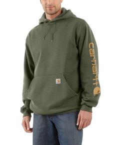 Carhartt Men's Winter Moss Midweight Signature Sleeve Hooded Work Sweatshirt - Big , Moss Green, hi-res