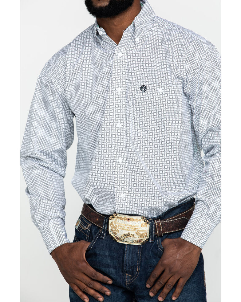 George Strait By Wrangler Men's Mint Small Geo Print Long Sleeve Western Shirt - Big , Light Green, hi-res