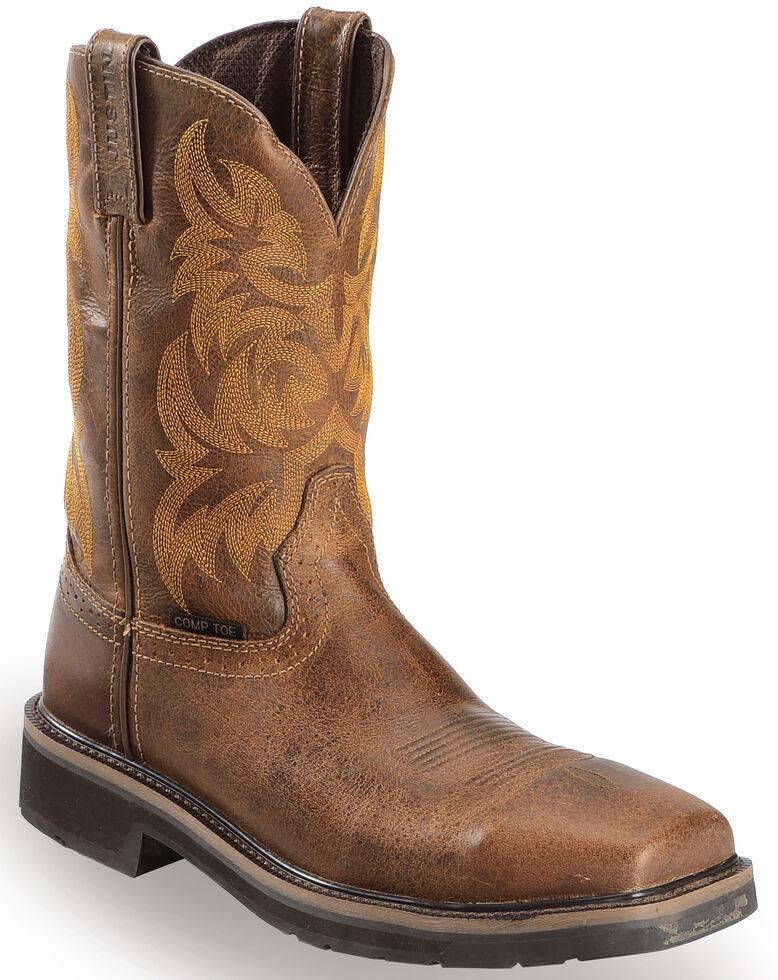 Justin Men's Stampede Handler Electrical Hazard Work Boots - Composite Toe, Tan, hi-res