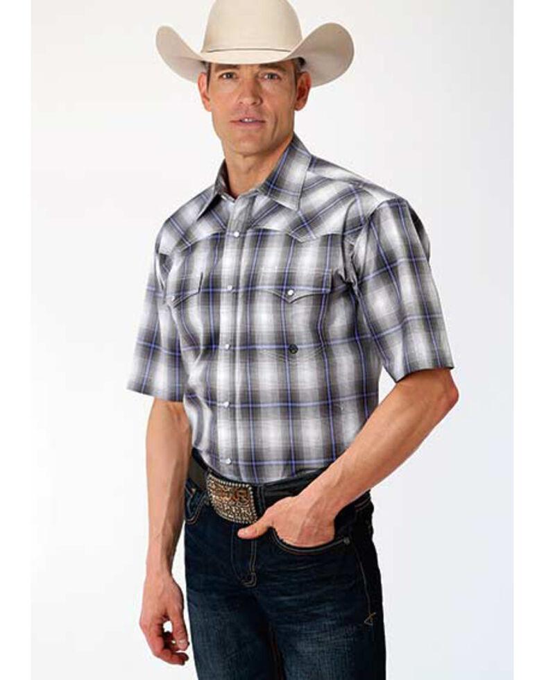 Amarillo Men's Grey Shadow Plaid Short Sleeve Western Shirt , Grey, hi-res