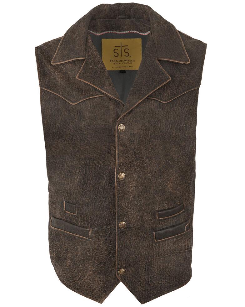 STS Ranchwear Men's Distressed Leather Gambler Vest, Distressed Brown, hi-res