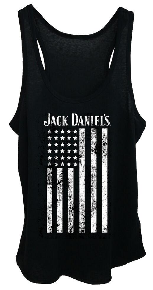 Jack Daniel's Women's Distressed Flag Tank Top , Black, hi-res