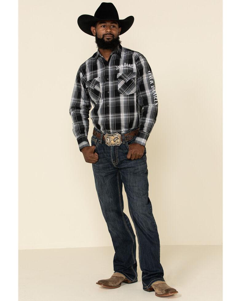 Jack Daniel's Men's Black Large Plaid Logo Long Sleeve Western Shirt , Multi, hi-res