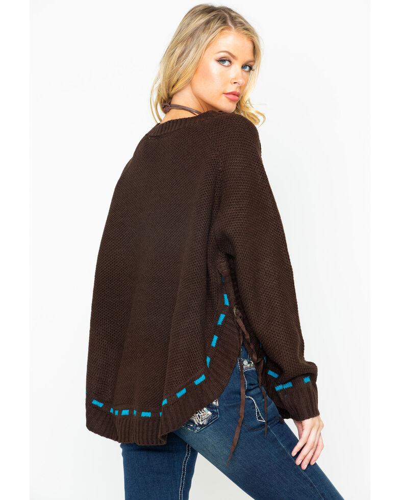 Wrangler Women's Horseshoe Front Knit Sweater, Brown, hi-res