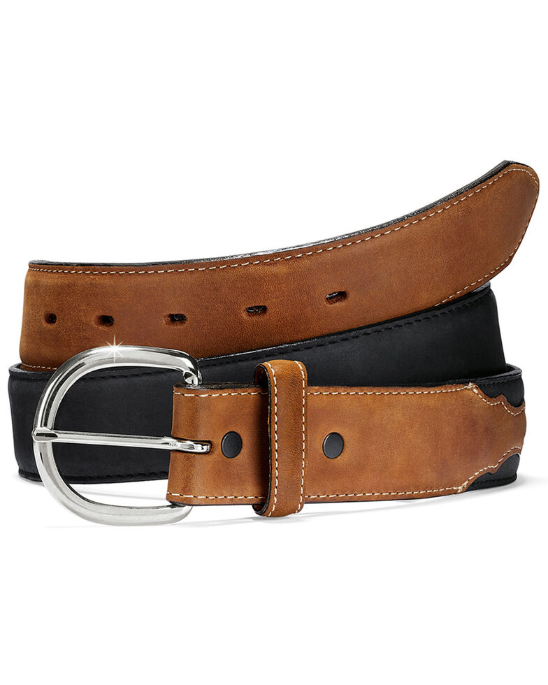 Silver Creek Men's Classic Western Belt, Black/brown, hi-res