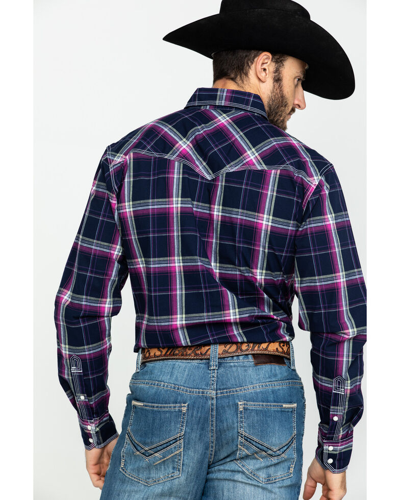 Wrangler 20X Men's Advanced Comfort Magenta Plaid Long Sleeve Western Shirt , Magenta, hi-res
