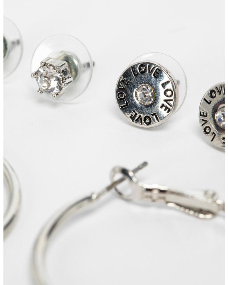 Shyanne Women's 3 Pack Shotgun Shell and Hoop Earring Set, Silver, hi-res