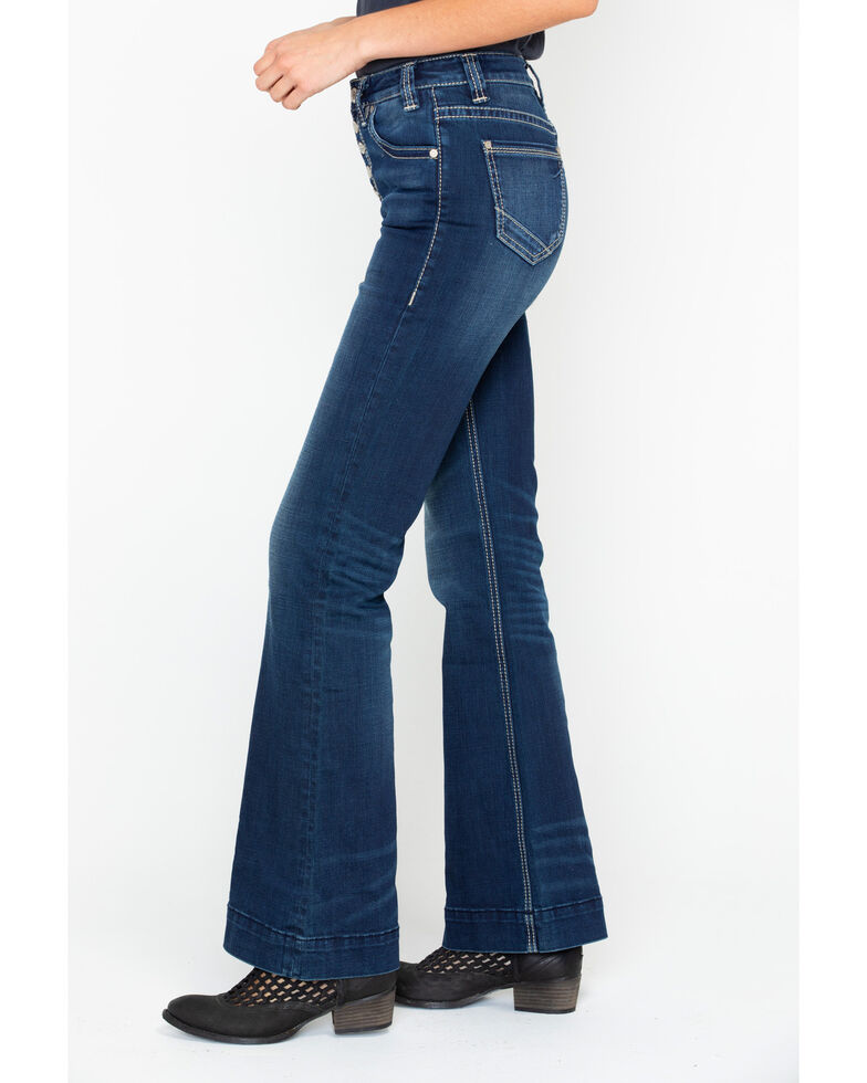 Rock & Roll Cowgirl Women's Applique High Rise Trousers , Medium Blue, hi-res