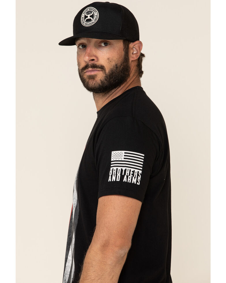 Brothers & Arms Men's Red Line Flag Graphic Short Sleeve T-Shirt , Black, hi-res