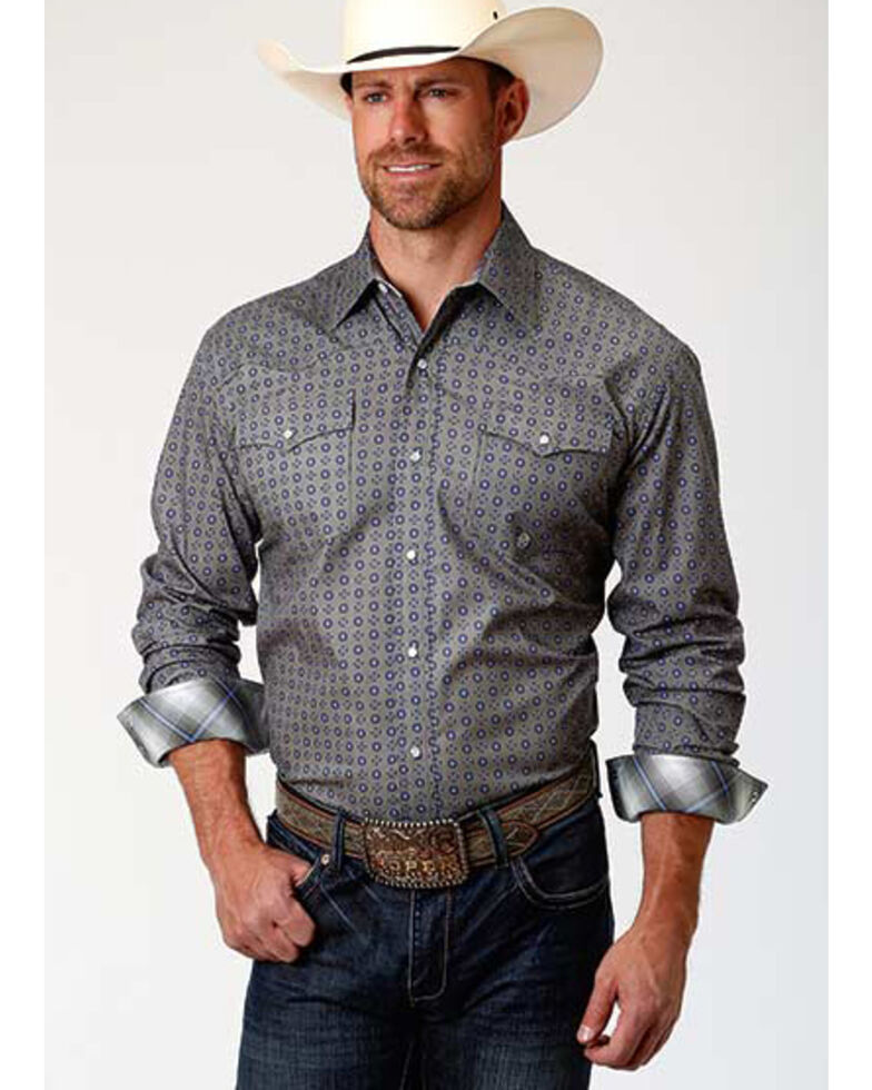 Roper Amarillo Men's Moonshadow Foulard Geo Print Long Sleeve Western Shirt , Grey, hi-res