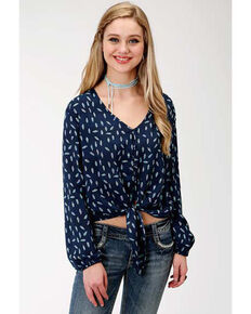 Five Star Women's Feather Print Tie-up Blouse, Blue, hi-res