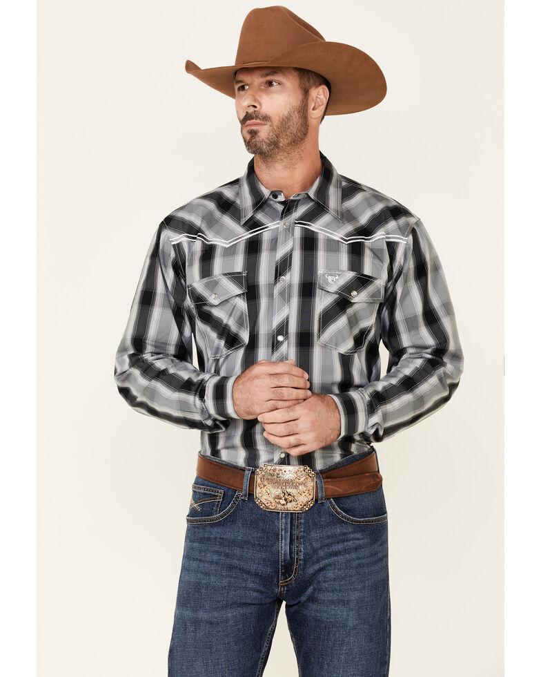 Cowboy Hardware Men's Hombre Large Plaid Long Sleeve Snap Western Shirt , Black, hi-res