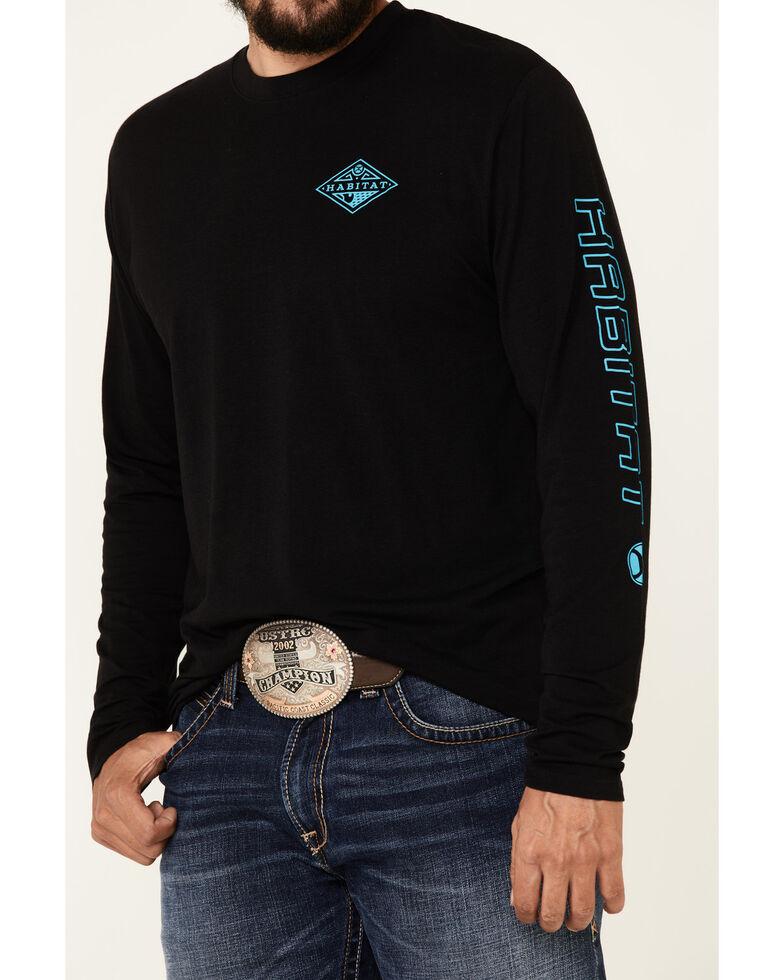HOOey Men's Black Captain Bamboo Logo Long Sleeve T-Shirt , Grey, hi-res