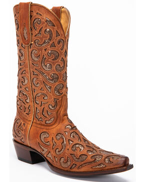 Shyanne Women's Shakira Inlay Western Boots - Snip Toe, Brown, hi-res