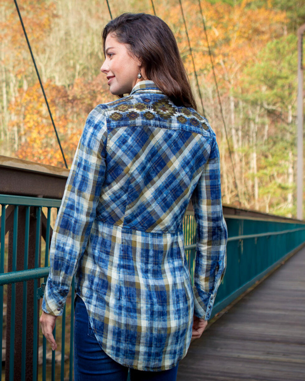 Ryan Michael Women's Moss Embroidered Plaid Tunic , Moss Green, hi-res