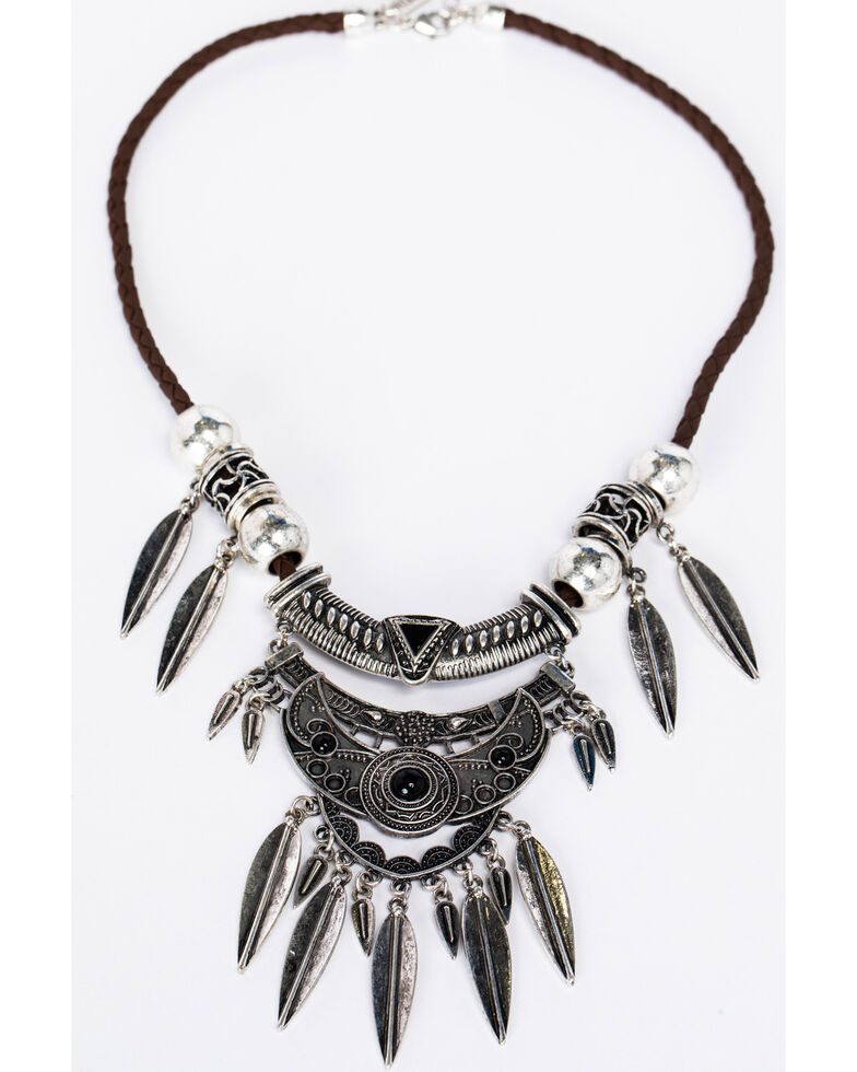Idyllwind Women's Gypsy Feather Necklace, Silver, hi-res