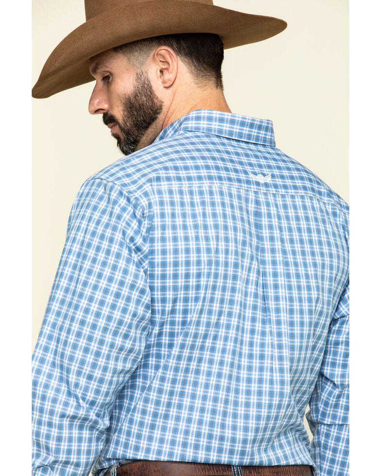 Ariat Men's Relentless Stout Stretch Small Plaid Long Sleeve Western Shirt , Blue, hi-res